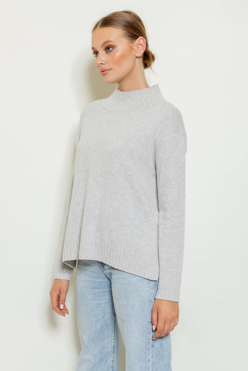 Florence Funnel Neck Knit - light grey marle