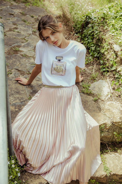 Posy Pleated Satin Skirt - champagne pink