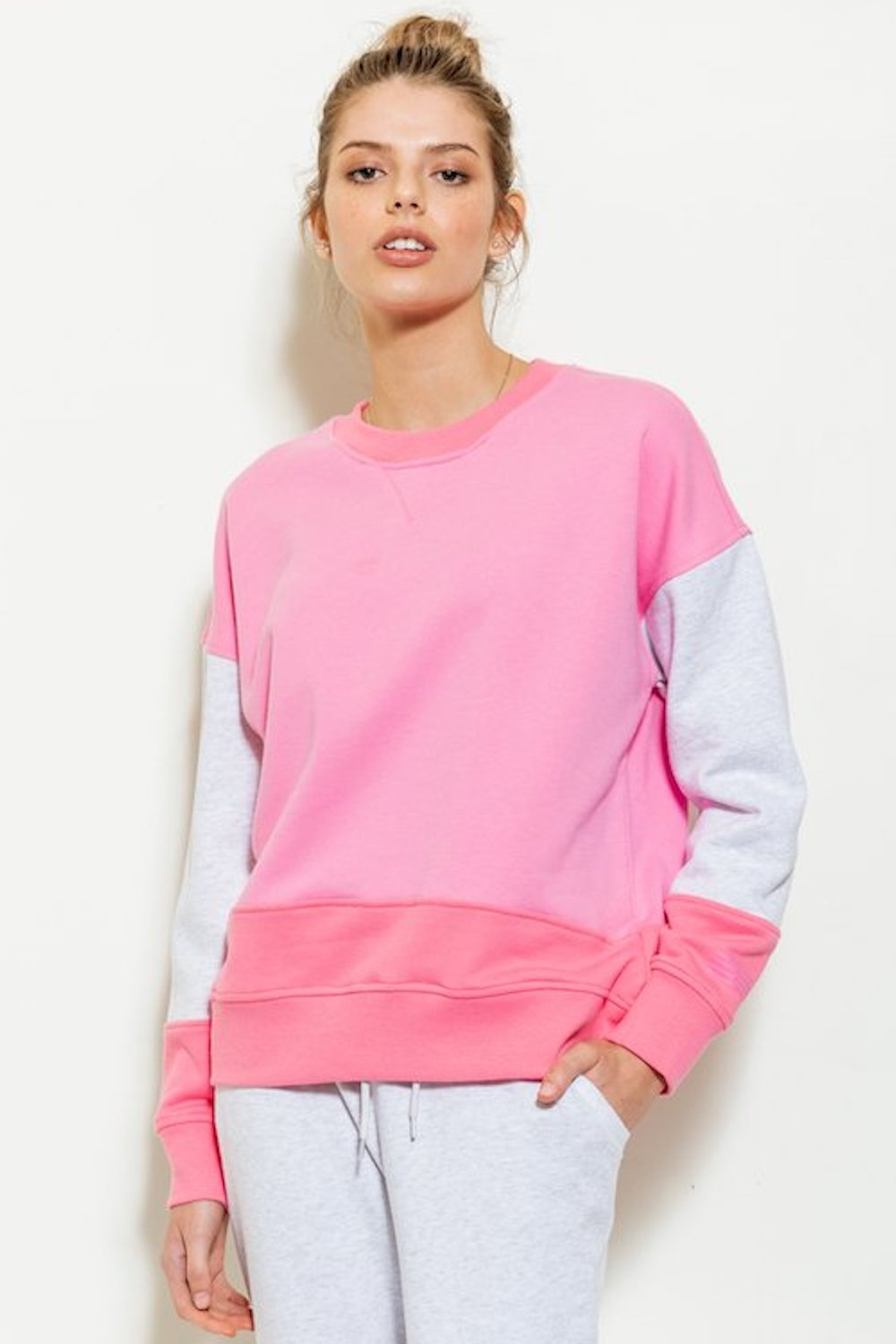 Cali Colour Block Crew Sweat - Pretty Pinks