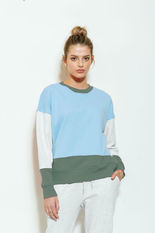 Colour Block Crew Sweat - Arctic Blues