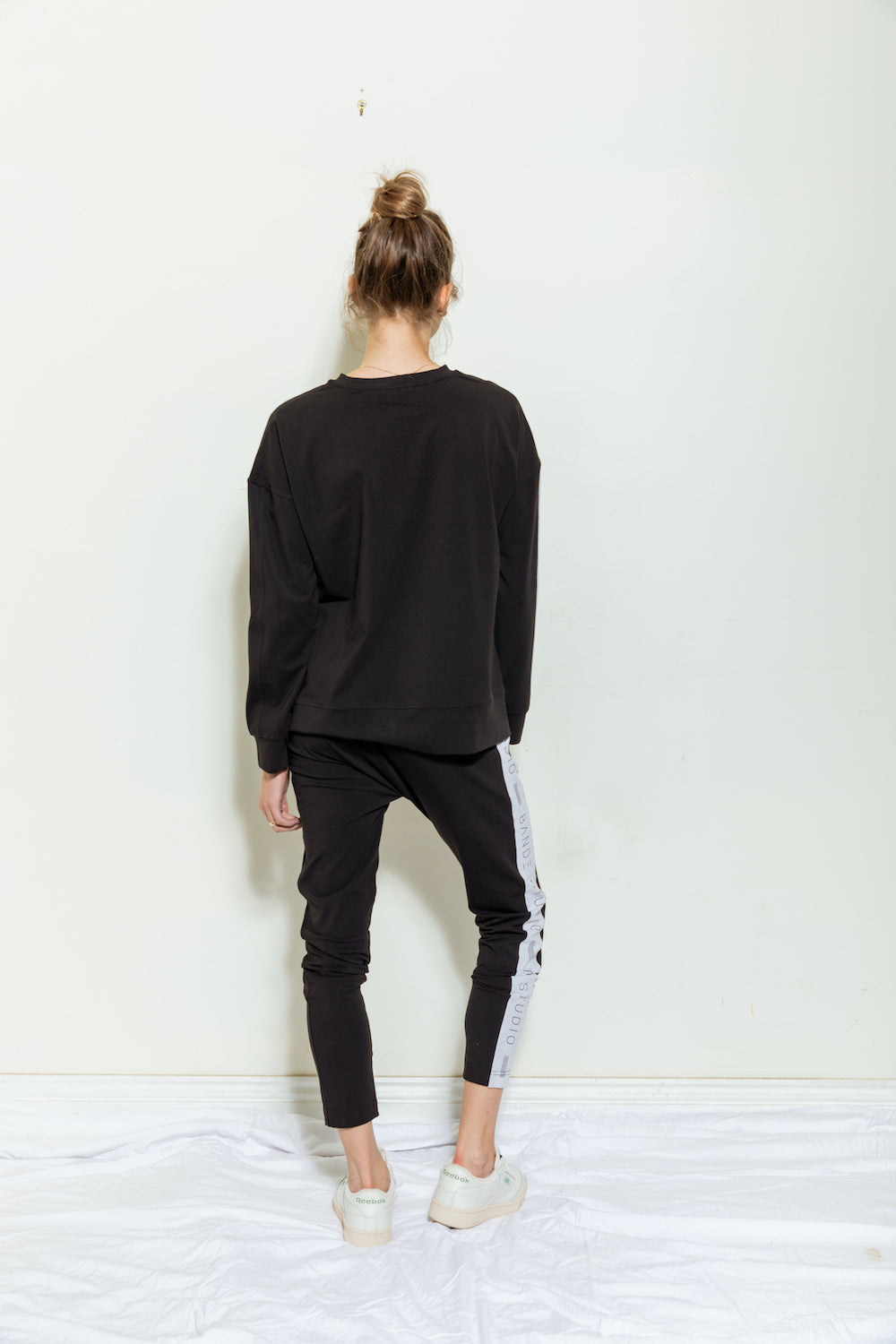 Tara Colour Block Slouch Pant - black / light grey