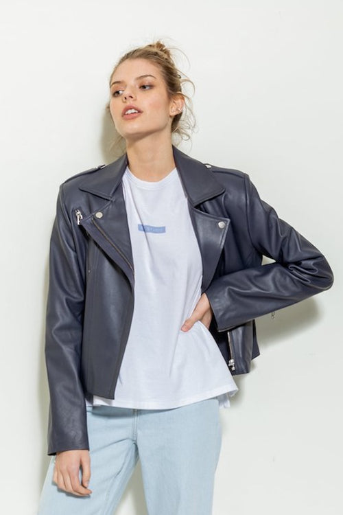 Leather Biker Jacket - navy