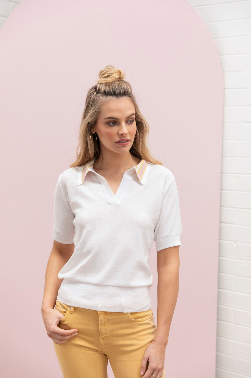 Lurex Polo Knit - ivory