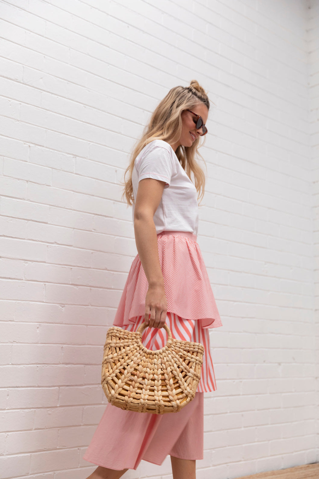 Tiered Stripe Skirt - candy red stripe