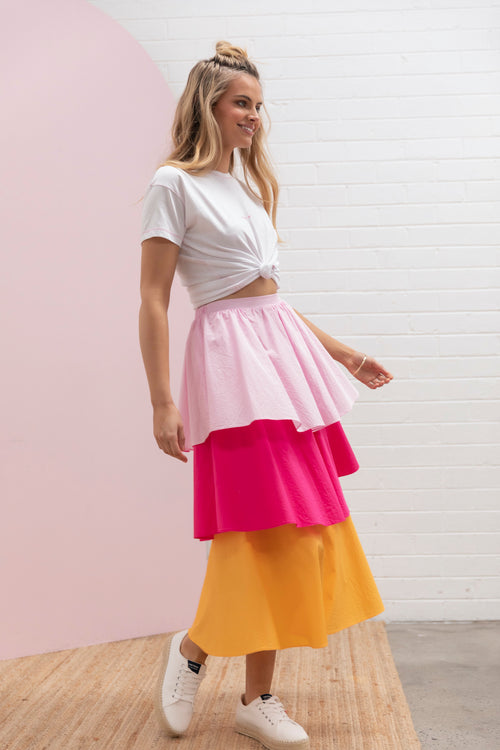 Tiered Colour Block Skirt - tropical melon