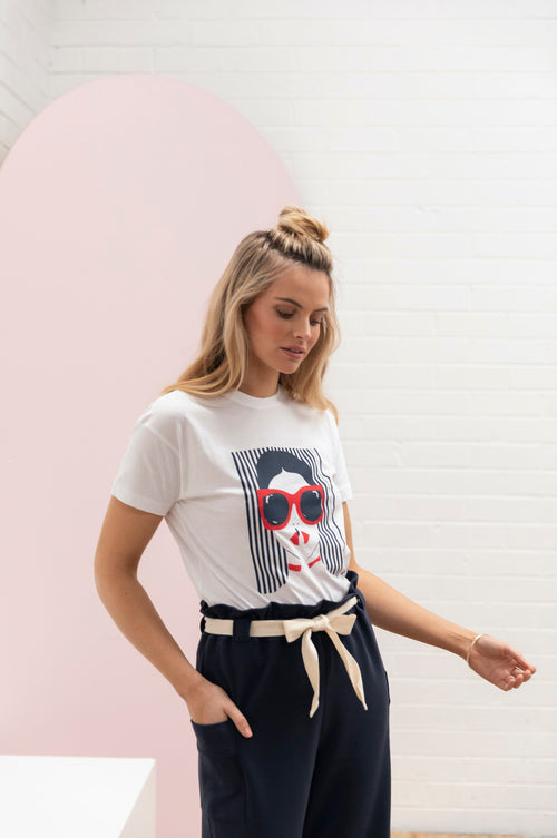 Summer Girl T-Shirt - white w/ navy