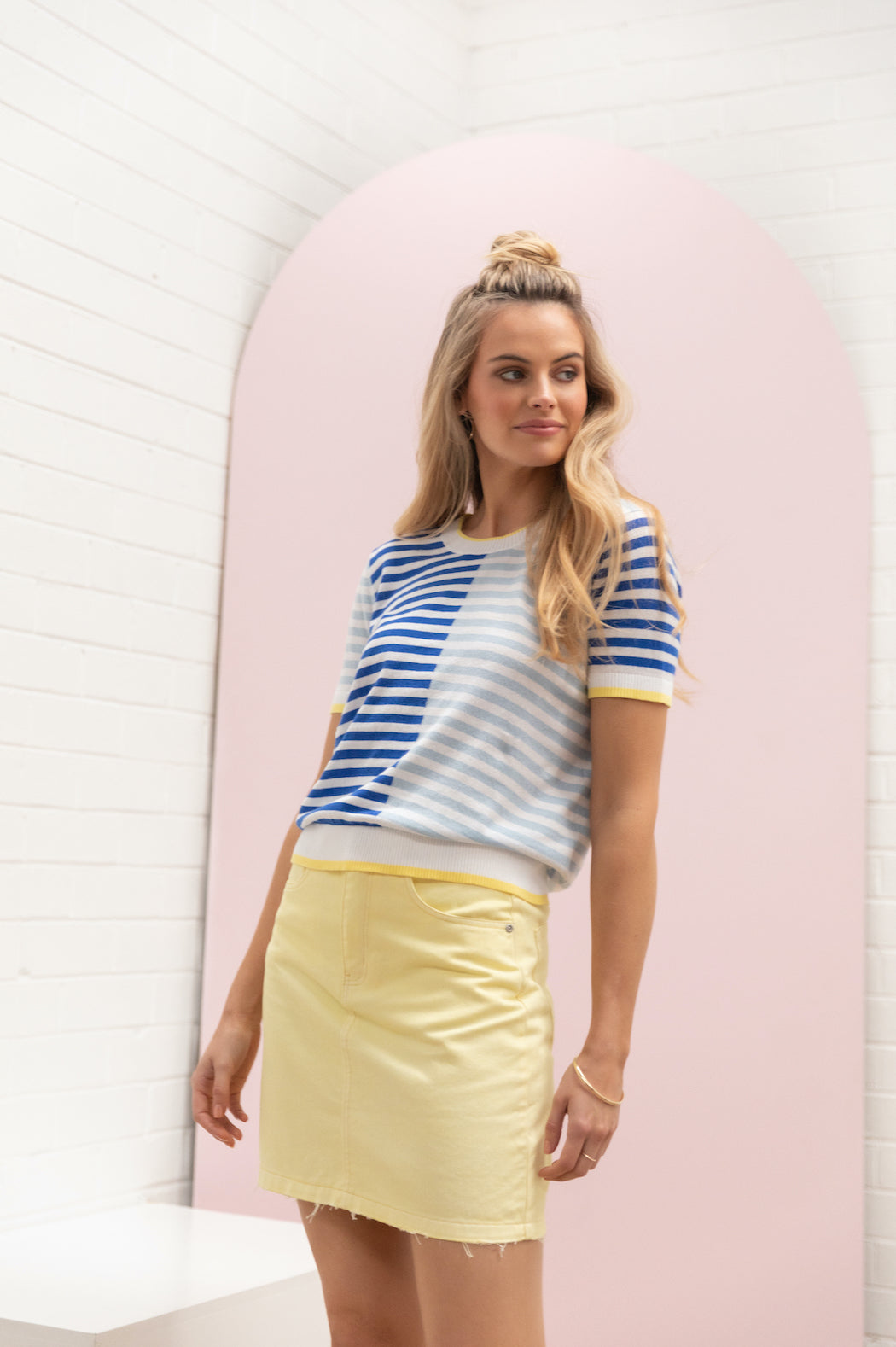Colour Block Stripe Knit Tee - ocean / iris blue