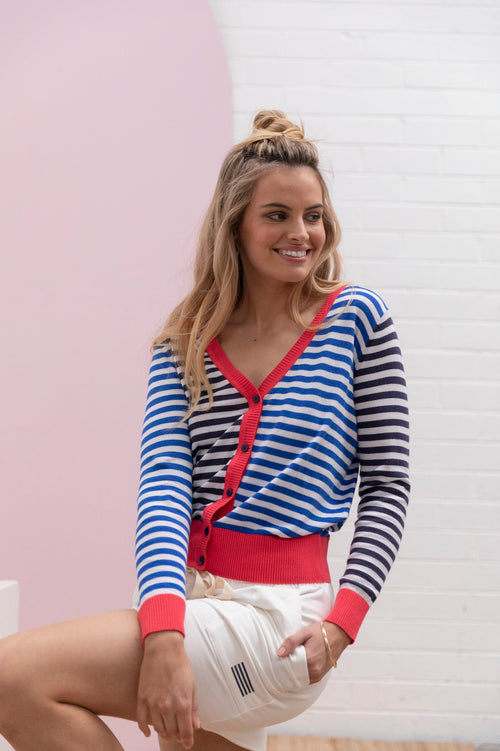 Colour Block Stripe Knit Cardi - navy / ocean
