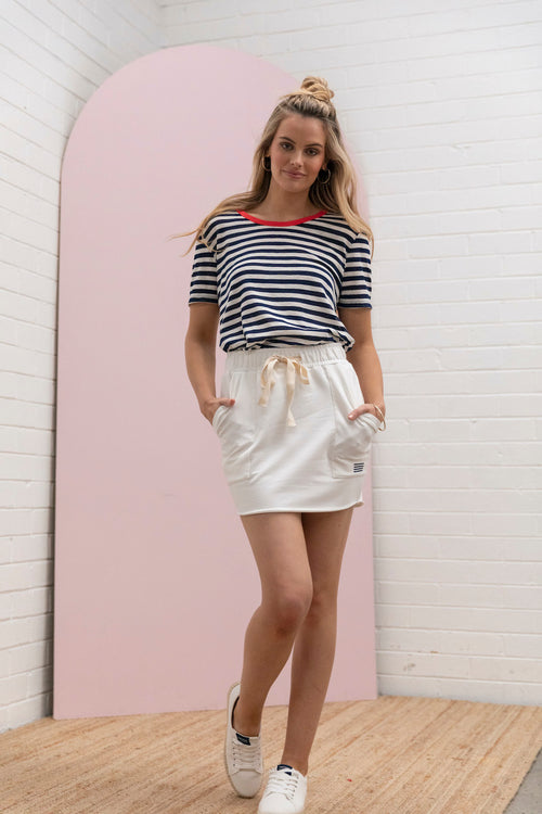 Paperbag Terry Skirt - pearl white