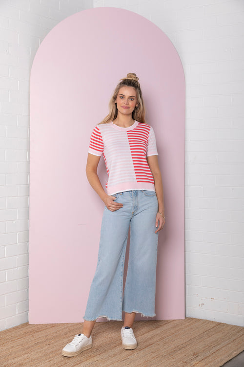 Colour Block Stripe Knit Tee - peony / raspberry red