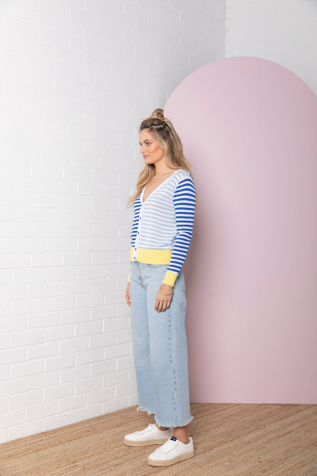 Colour Block Stripe Cardigan - ocean with iris blue
