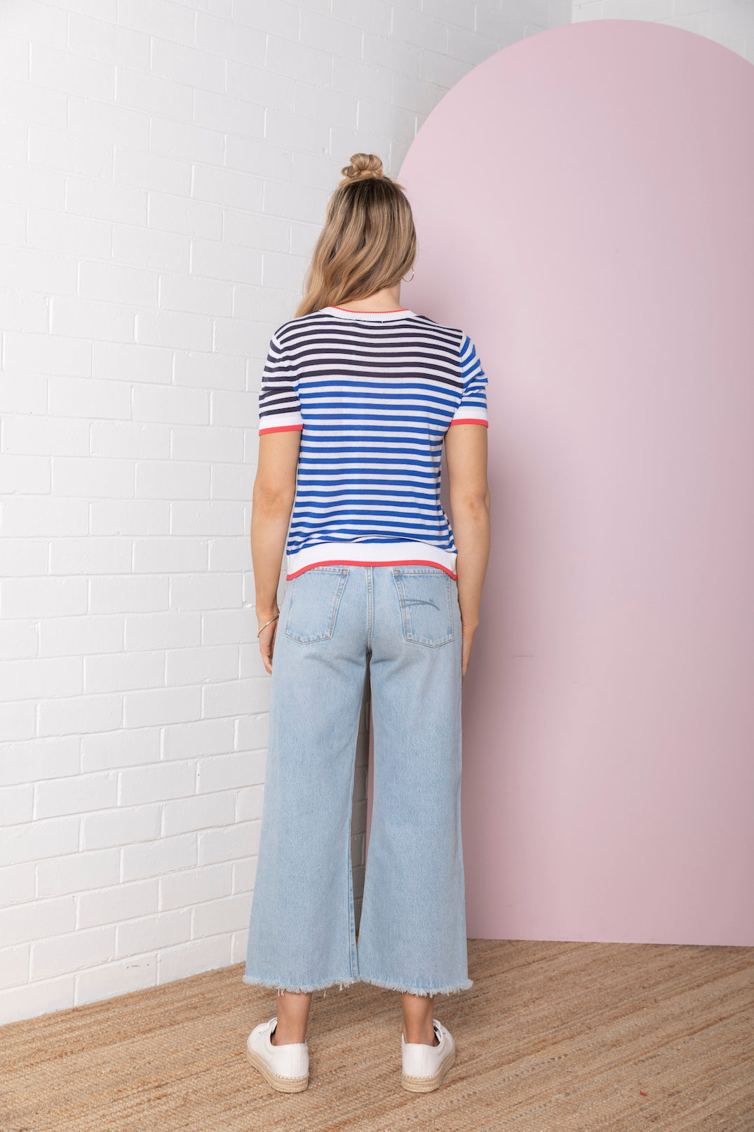 Colour Block Stripe Knit Tee - navy / ocean