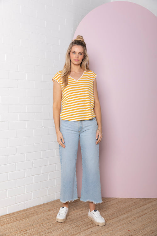 Stripe Slub V-Neck Tee - melon stripe