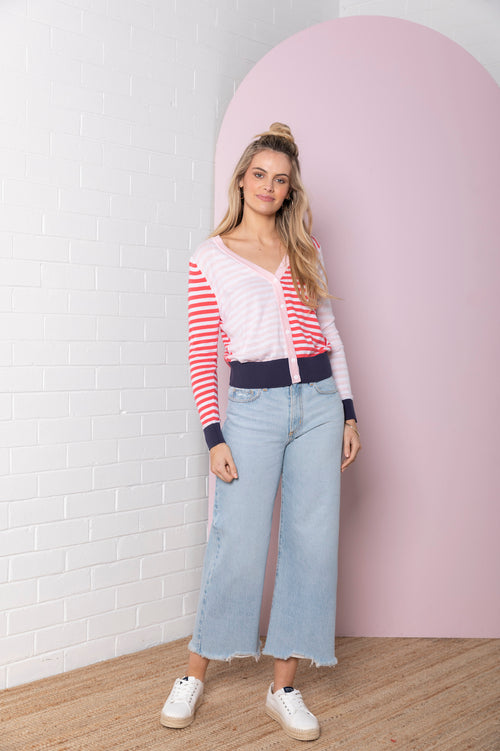Colour Block Stripe Knit Cardi - peony / raspberry red