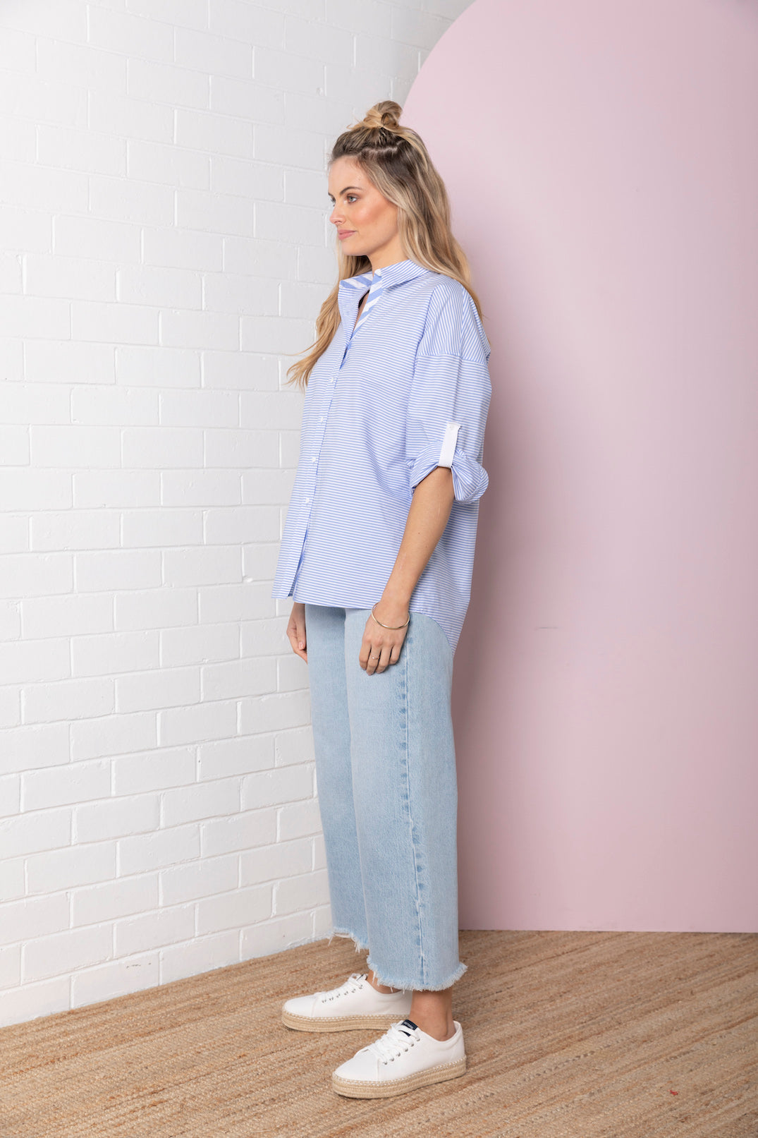 Stripe Oversize Shirt - pale blue stripe