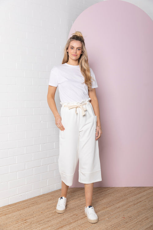 Wide Terry Culotte - pearl white
