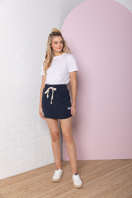 Paperbag Terry Skirt - oxford navy