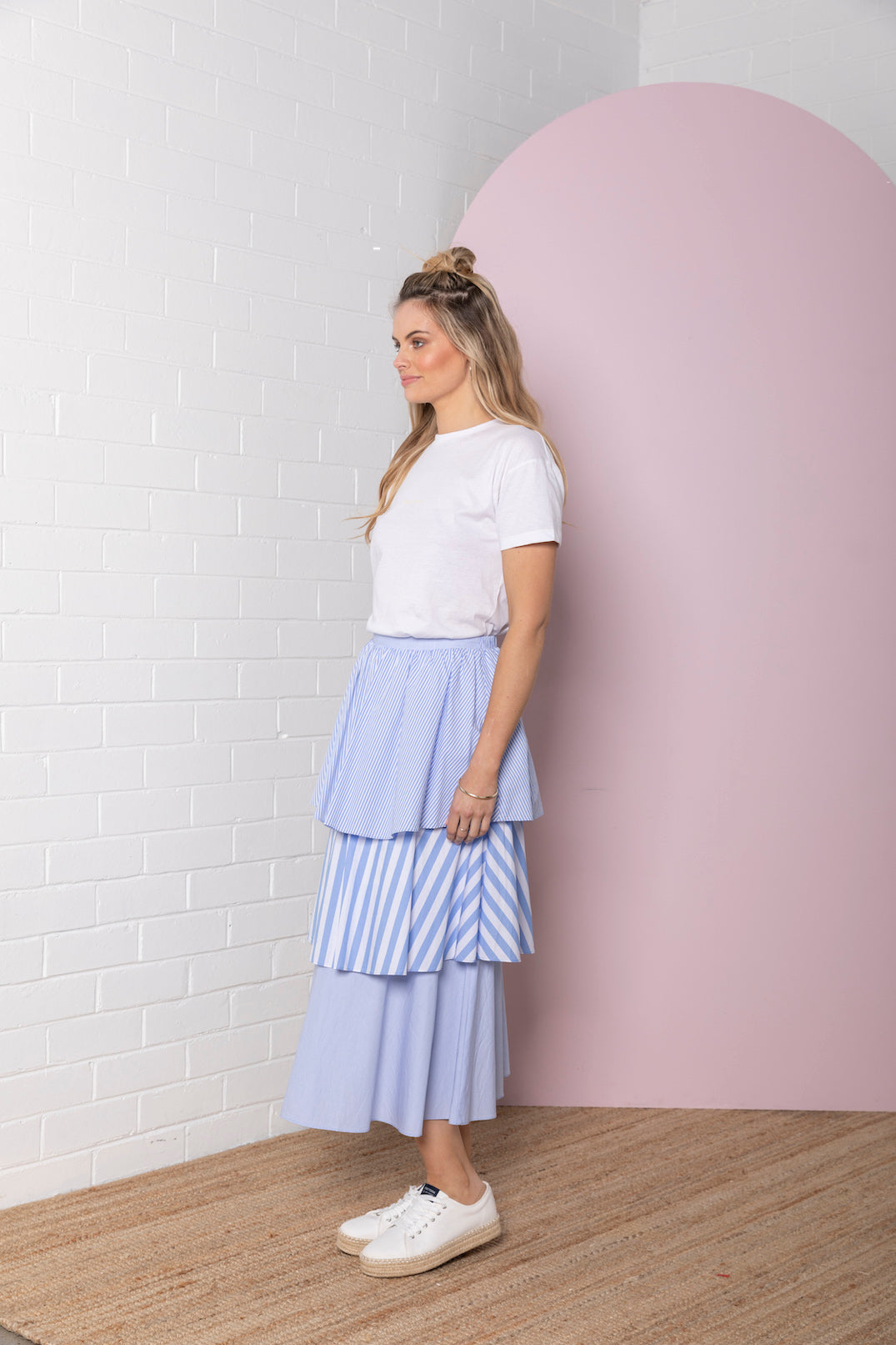 Tiered Stripe Skirt - marine blue stripe