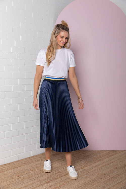 Pleated Satin Skirt - navy