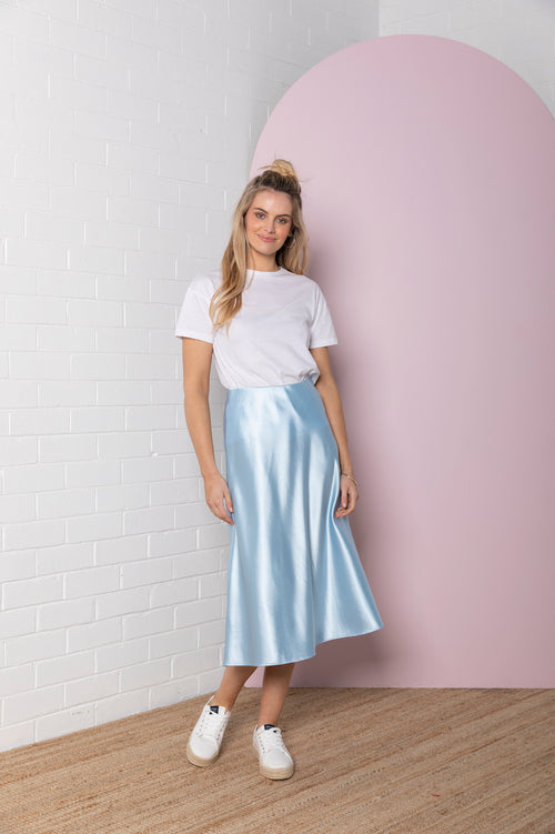 Satin Skirt - powder blue