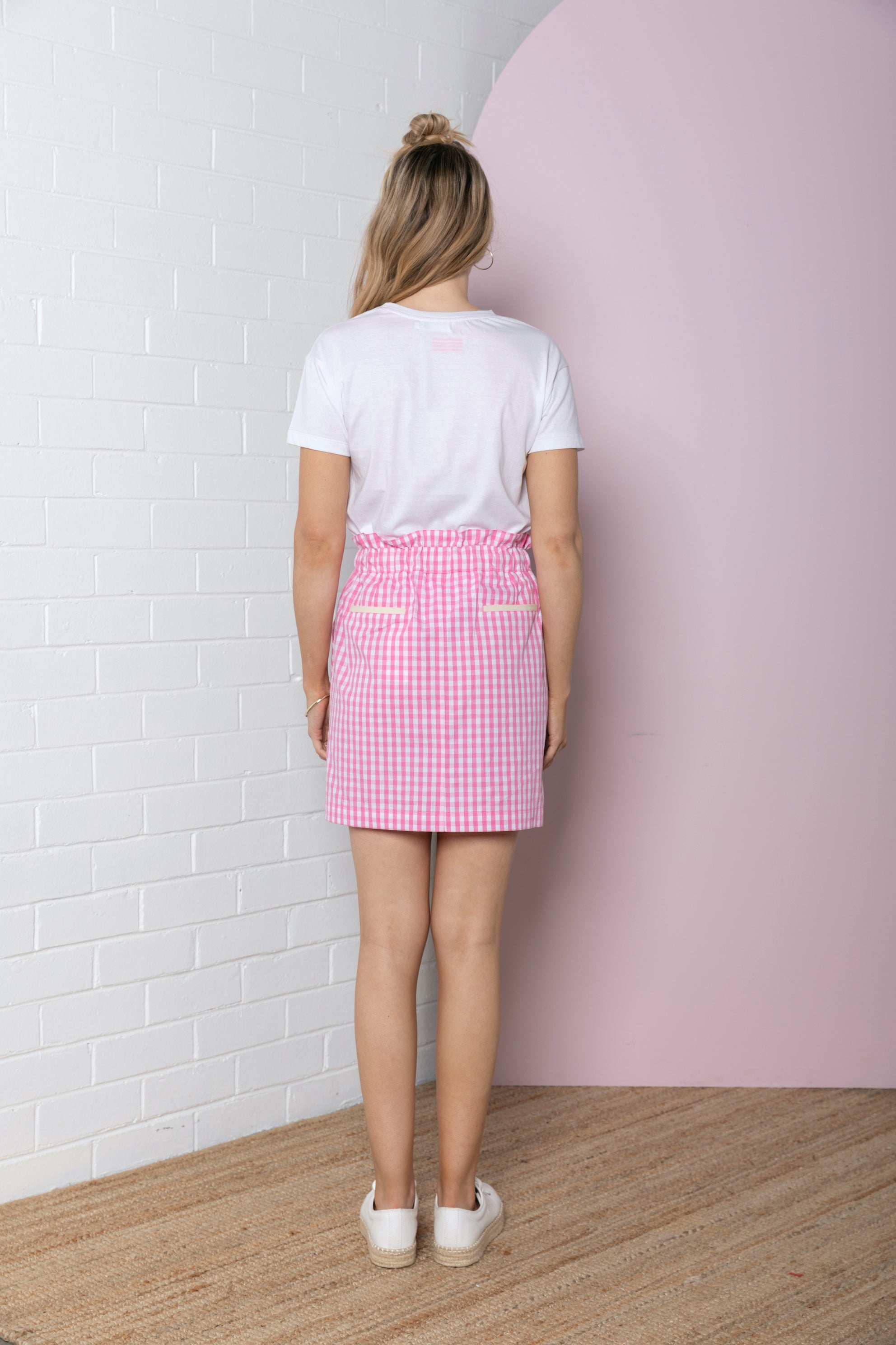 Gingham Paperbag Skirt - pink gingham