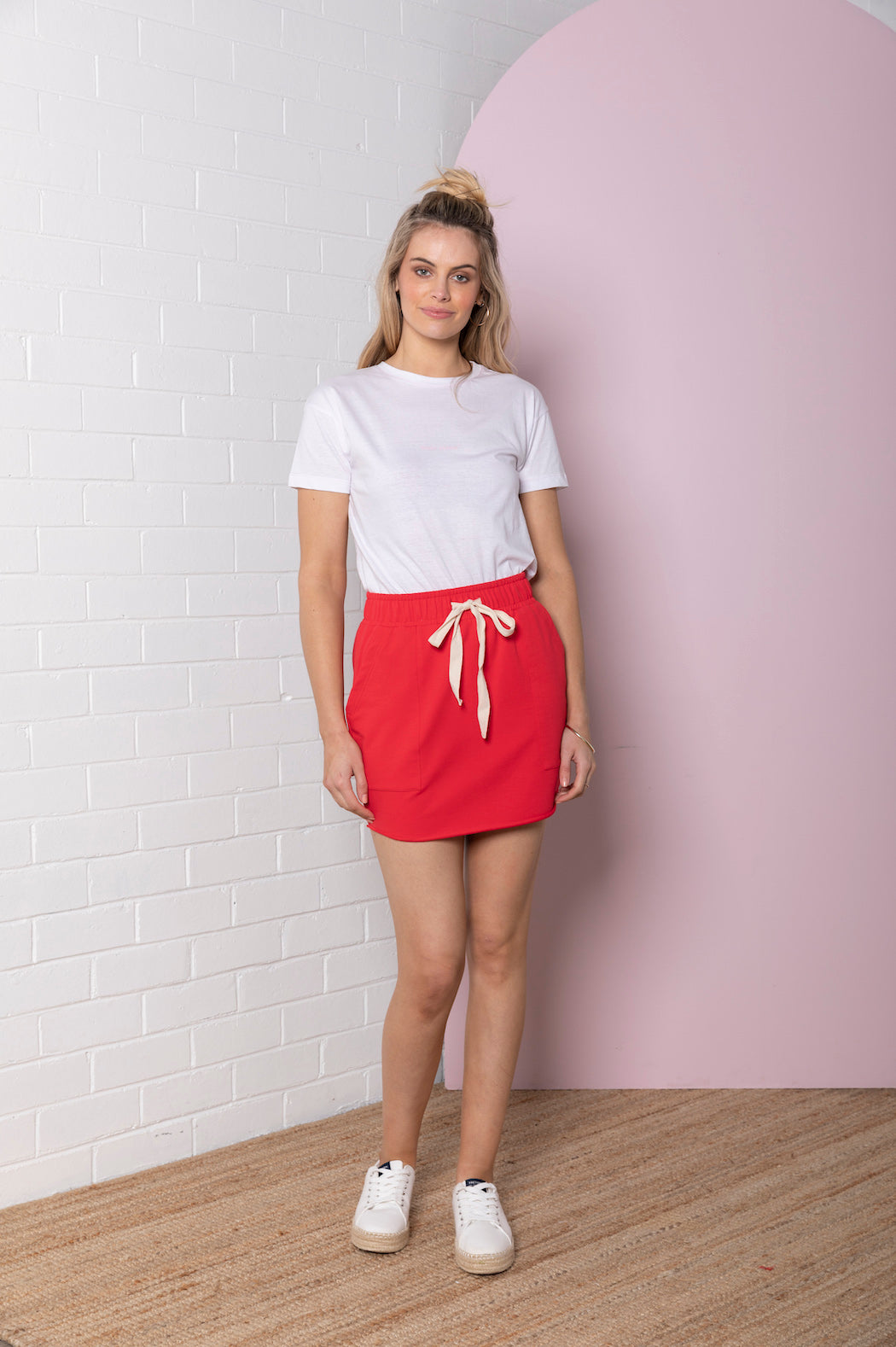 Paperbag Terry Skirt - royal red