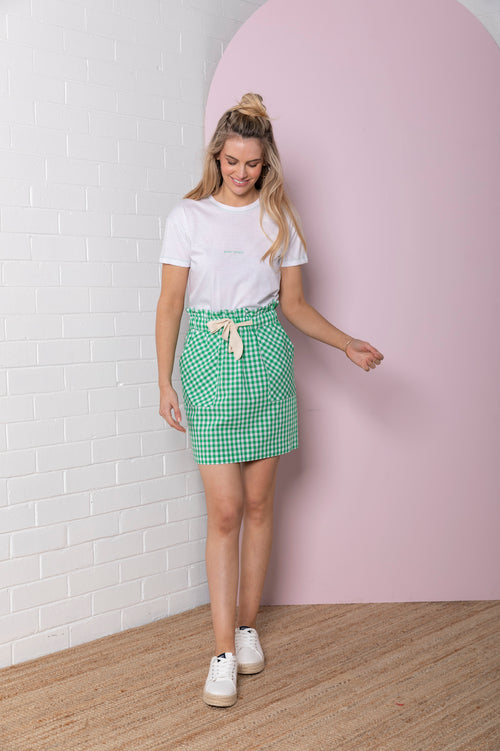 Gingham Paperbag Skirt - emerald green