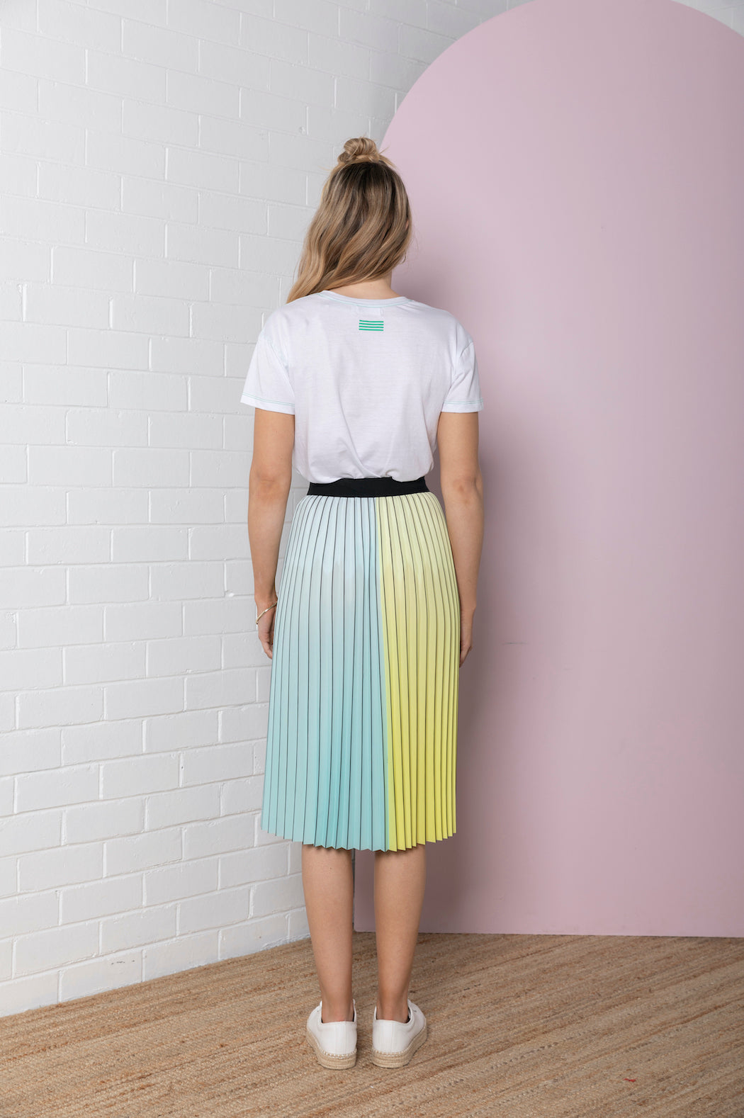 Pleated Colour Block Skirt - lemon / aqua