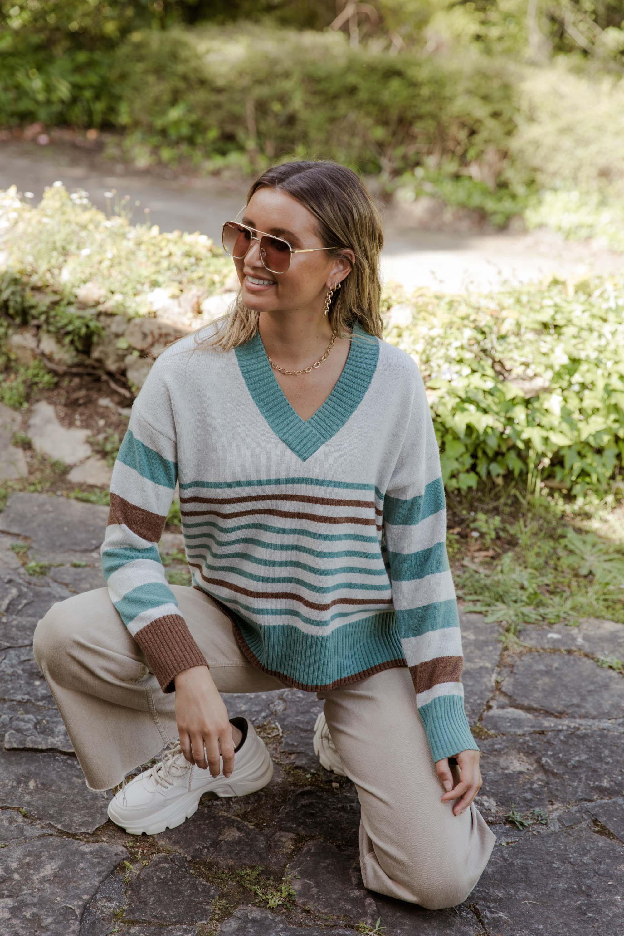 Grace Colour Block Sweat - navy - Bande Studio - Australian Knitwear
