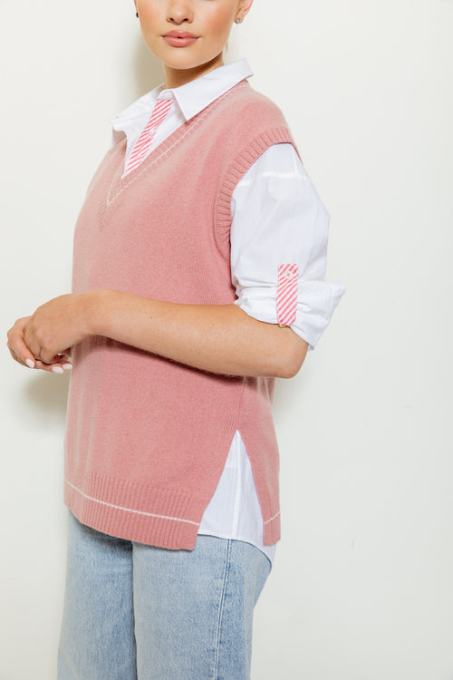 Breeze Knit Sweater Vest - winter rose