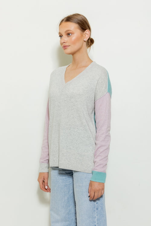 Violet Colour Block V Neck Knit - grey marle with glacier green and pale orchid