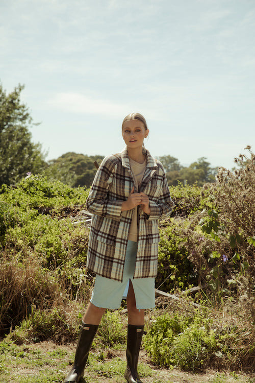 Chloe Check Coat - pale blue check