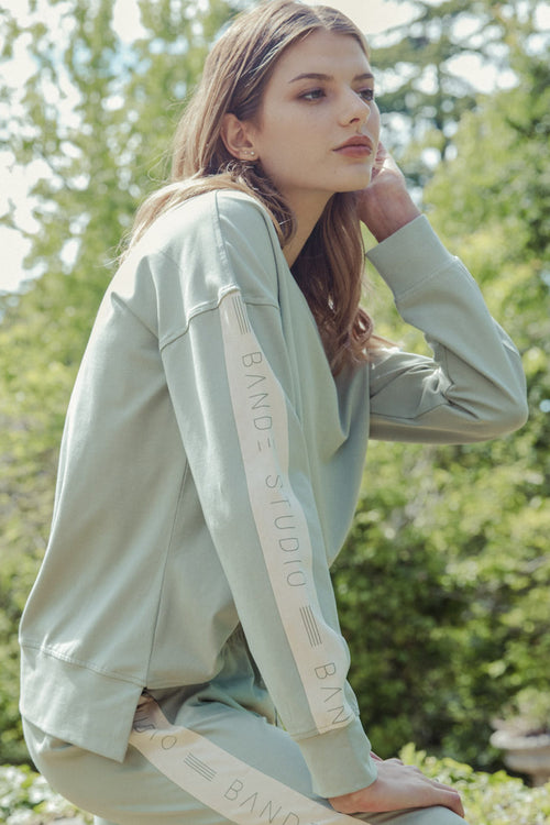 Colour Block Lightweight Sweat - sage/stone