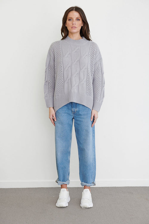 Coraline Oversize Cable Crew - steel grey