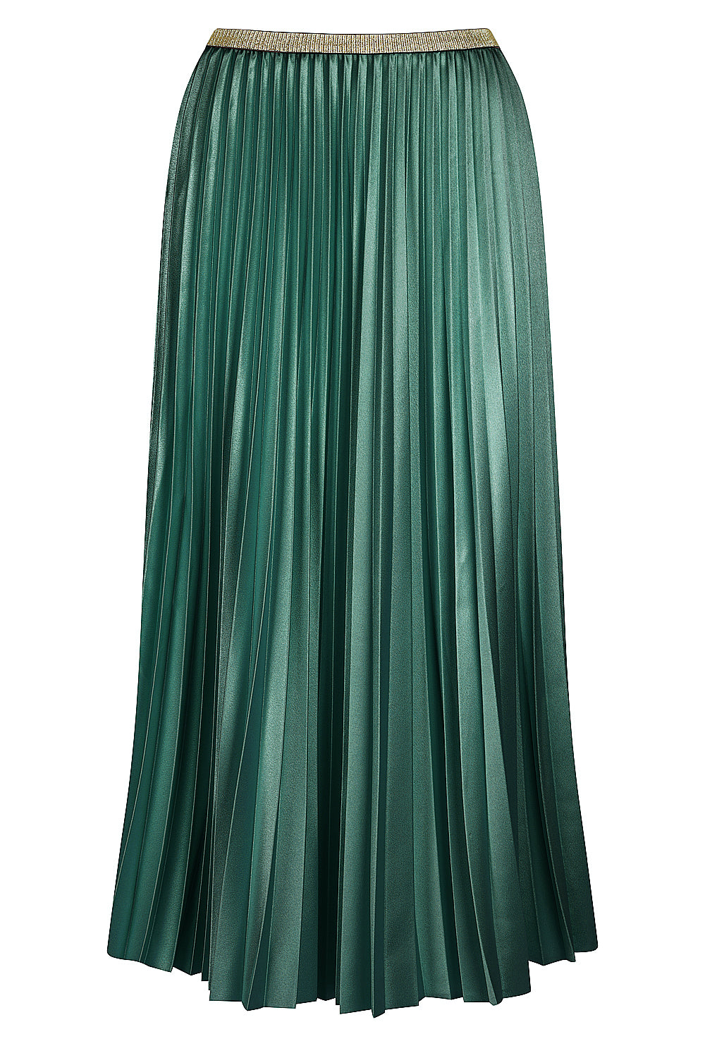 Posy Pleated Satin Skirt - peacock green
