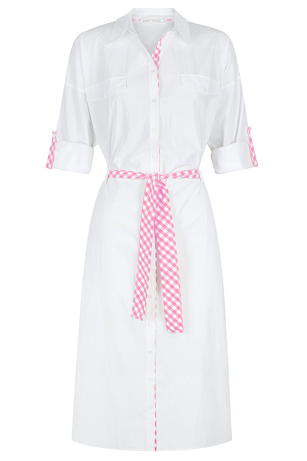 Gingham Shirt Dress - white w/ pink gingham
