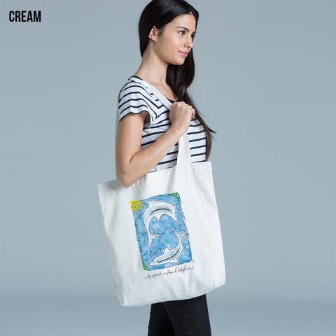 Watercolour dolphins bag - Cream