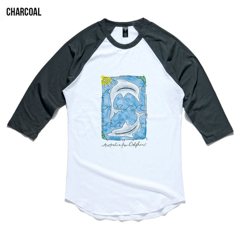 Watercolour dolphins raglan - unisex adult