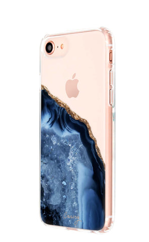 Dark Blue Agate iPhone 8 Designer Case Side View