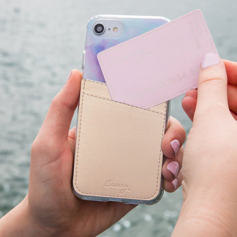 Phone Pocket Beige Leather Designer Case Side View