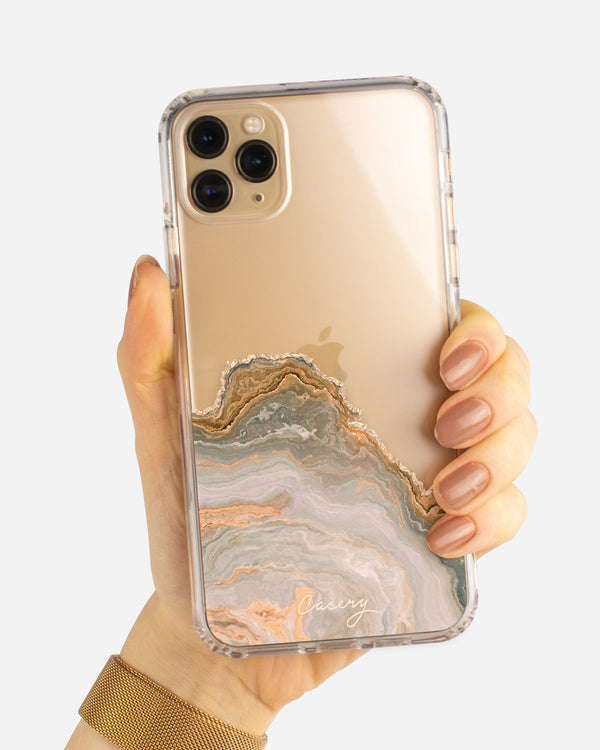 White & Gold Agate Protective Clear Case for iPhone 11 Pro