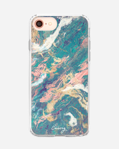 Turquoise & Rose Gold Marble iPhone SE 2020 Designer Case