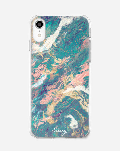 Turquoise & Rose Gold Marble iPhone XR Designer Case
