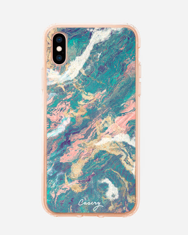 Turquoise & Rose Gold Marble iPhone X/Xs Designer Case