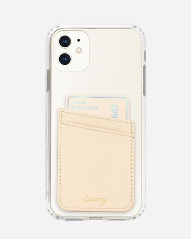 Phone Pocket Beige Leather Designer Case