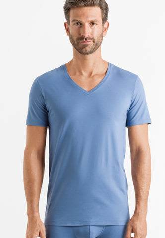 Cerulean Blue Cotton Superior Short Sleeve V-Neck Shirt