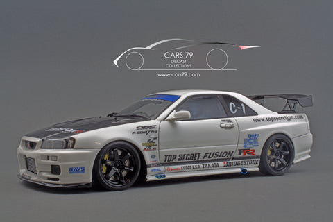 1/18 TOP SECRET GT-R (BNR34) White - by Ignition Model (IG1477)