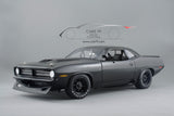 1/18 - 1970 Playmoth Trans Am Barracuda - Street Version Matte Black by Acme Diecast