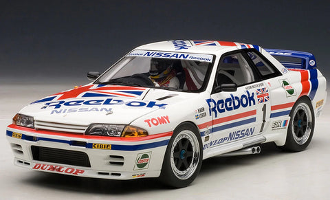 1/18 AUTOart Nissan Skyline GT-R GTR (R32) GROUP A 1990 REEBOK #1 SPECIAL EDITION (WITH DRIVER FIGURINE/DISPLAY CASE) Limited 1000 Diecast Car Model