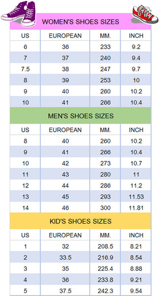 Shoes Size Chart - TeeAmazing